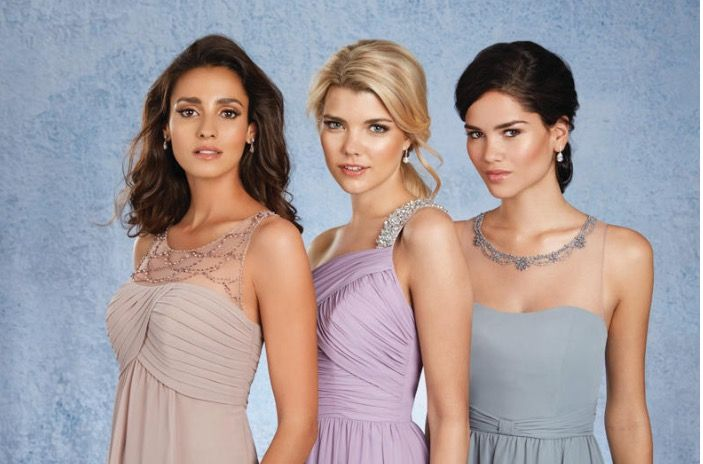 The tops of these bridesmaids dresses are so cute! Alfred Angelo bridesmaid dresses.