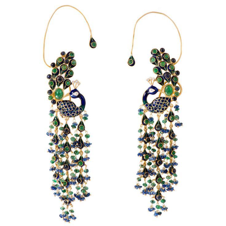 Emerald Sapphire Gold Enamel Peacock Earrings   From a unique collection of vintage dangle earrings at https://www.1stdibs.com/jewelry/earrings/dangle-earrings/