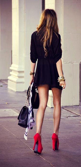 Black dress and red heels.