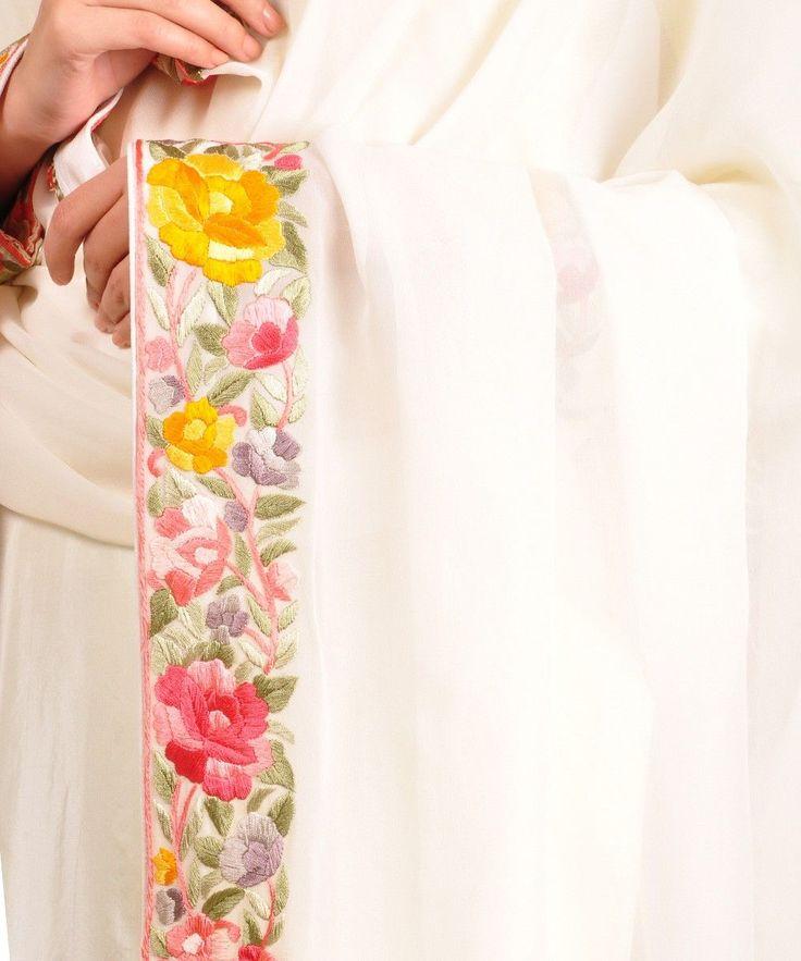 Cream Parsi Gara Hand Embroidered Suit and Dupatta