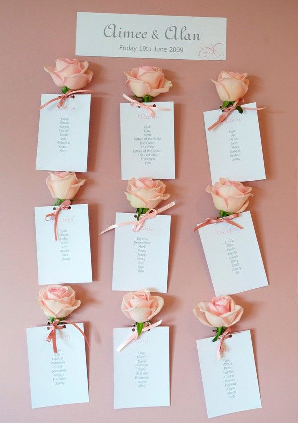Wedding Seating Plan used English Roses, but we can use paper roses, so that they can be made in advance...