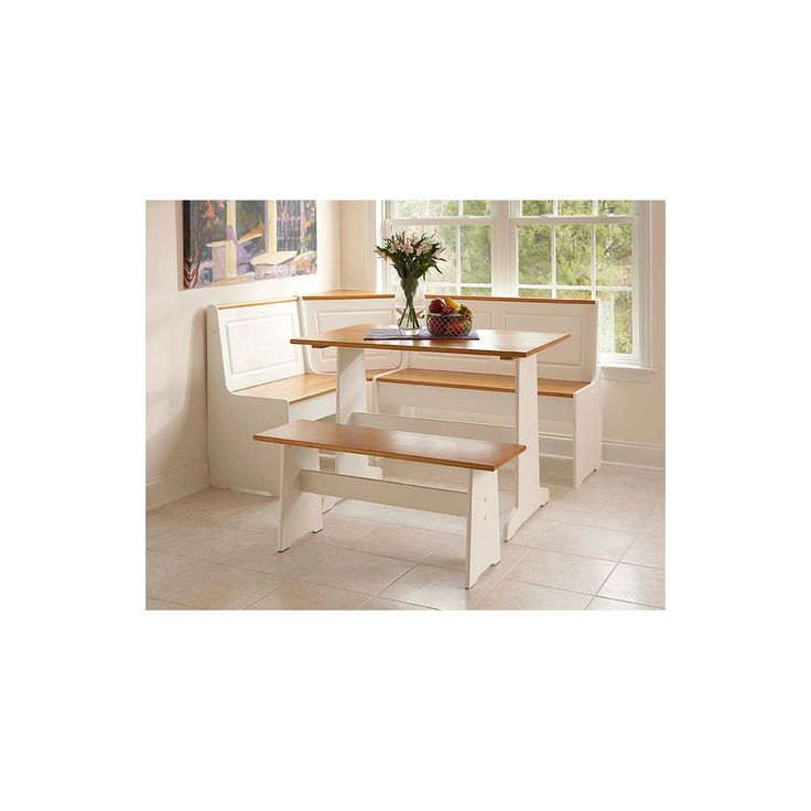 Make the most of your kitchen or dining room corner with the Ardmore 3-Piece Nook Dining Set. It comes with a table, bench and L-shaped booth. Its edges are beveled for safety. The Ardmore kitchen nook set seats 3 people. It's made of hardwood and has a painted-white and natural finish. This space-saving, nook, dining set makes a nice addition to your home.