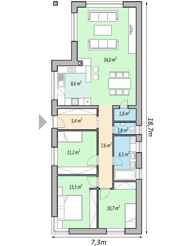 projekty domov - projekt domu SLIM