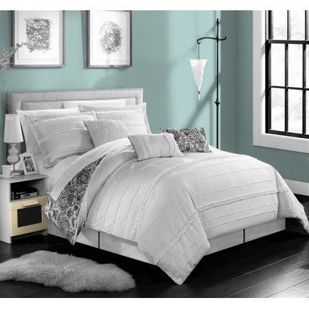 chic home 11piece maeve pleated and ruffled reversible paisley floral print queen bed in a bag comforter set white with sheet set