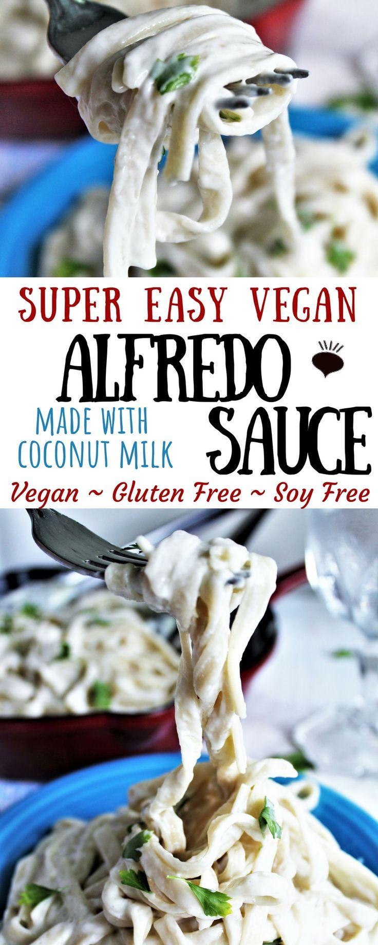 Ein super einfaches Rezept für eine vegane Alfredo-Sauce aus Kokosmilch. Ein einfacher Weg …