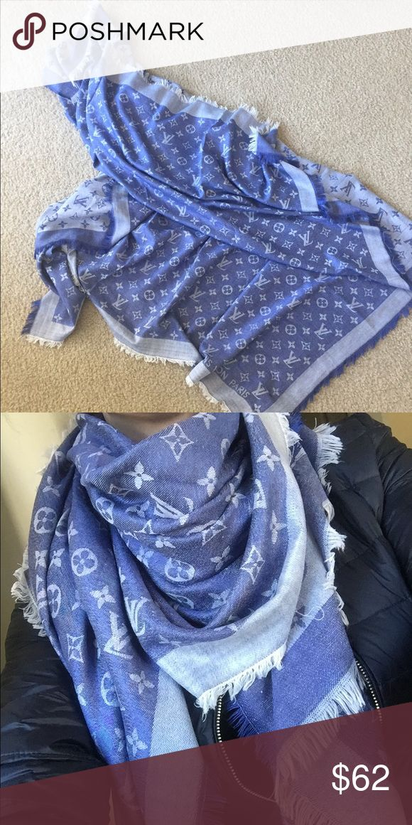 💙blue and white scarf ❗️NOT AUTHENTIC ❗️back in stock. They sell fast. 140cm x 140cm. Very soft. Accessories Scarves & Wraps