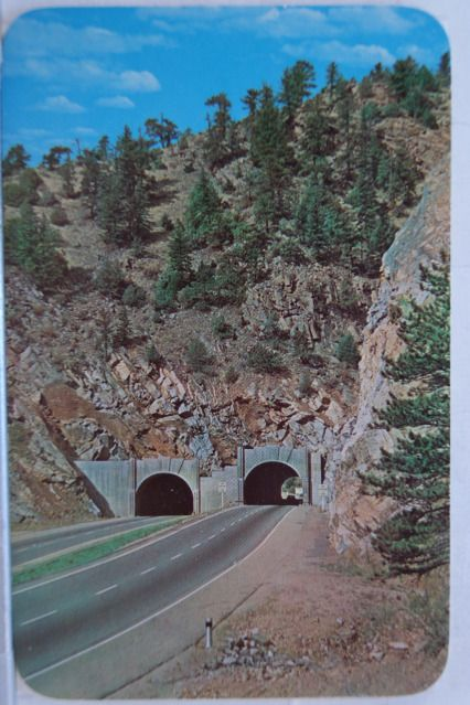 Colorado Postcards   The twin tunnels right before you go into Idaho springs, Colorado