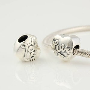 Love Heart Valentine's Day 925 Sterling Silver Charms/beads for Pandora, Biagi, Chamilia, Troll and More Bracelet