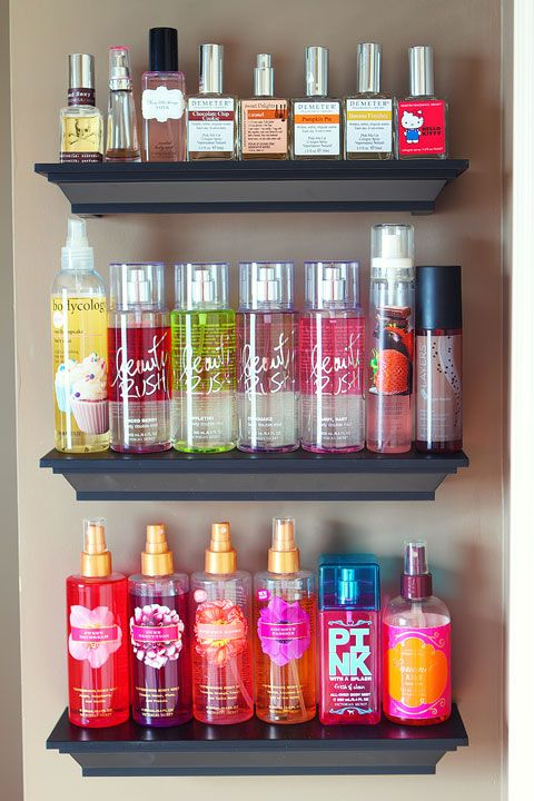 Easy DIY Bathroom Organization! Use crown molding to make shelves to organize perfumes, lotions, hairspray, etc.
