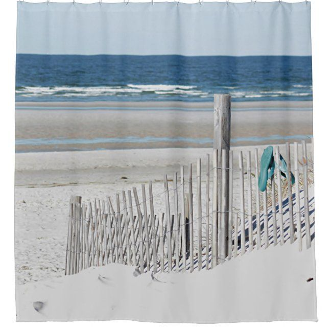 Beach Scene Shower Curtain Zazzle Com In 2020 Beach Scenes