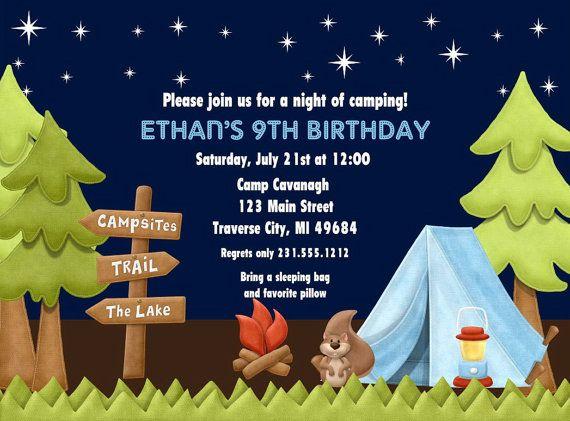 Camping Invitation - Kids Birthday Invitations - Printable ...