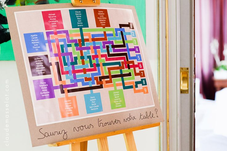 Graphically bright seating chart Table de mariage