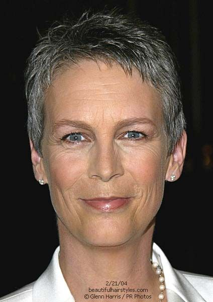 Jamie Lee Curtis with Gray Hair in Professional Very Short Style - Beautiful Hairstyles