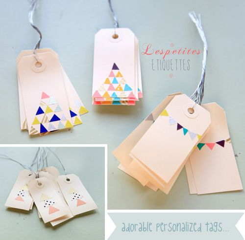 I'm in love with all the little hand cut triangles. These tags are adorable.  They have been made by Emilie from Griottes.