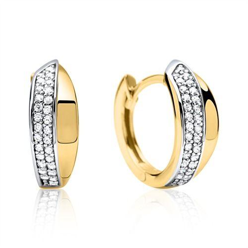 Schicke Creole 333er Gold mit  Zirkoniasteinen GE0277 https://www.thejewellershop.com/ #gold #ohrstecker #ohrschmuck #earrings #ohrringe #zirkonia #creolen #jewelry #schmuck