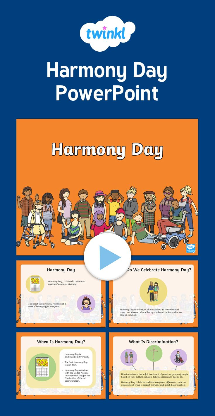PowerPoint presentation to promote cultural diversity and celebrate Harmony Day.