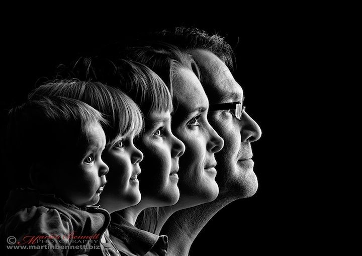 Some gorgeous and innovative photo ideas for families! Love this black and white shot of just their profiles.....