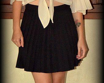 pleated skirt in blackshort lengthmini skirthigh by HerselfStudios