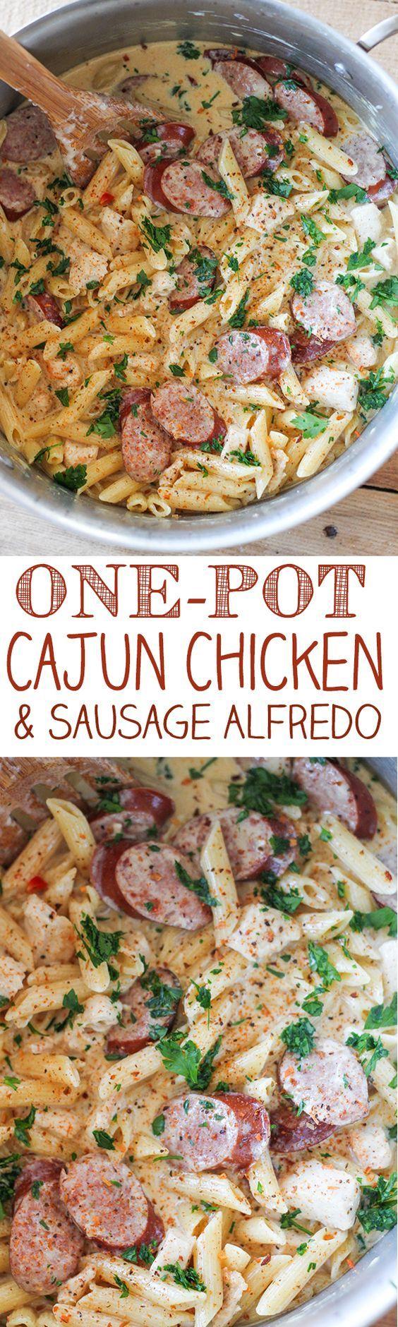 One Pot Cajun Chicken Pasta Alfredo with Sausage - spaghetti squash instead of pasta???: