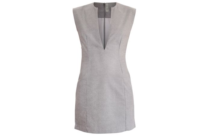 GREY LOW V NECK DRESS by Anna Moss on hellopretty.co.za