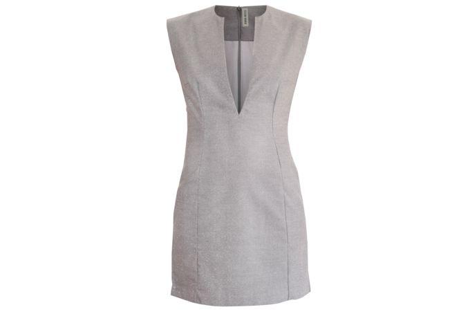 GREY LOW V NECK DRESS by Anna Moss on hellopretty.co.za