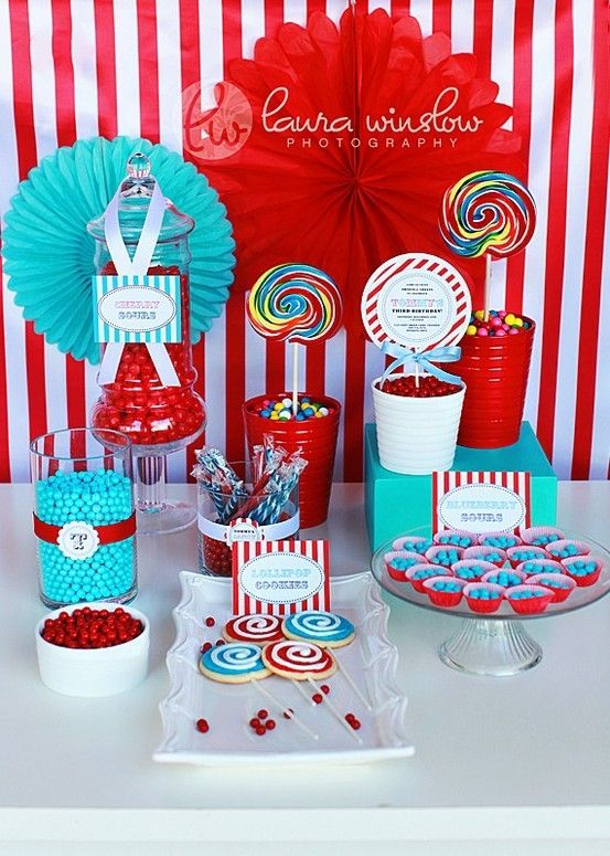 turquoise and red party fun