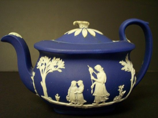 Dark blue jasper-ware teapot and lid, by Wedgwood, American, early 19th C.
