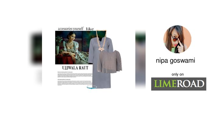 'Ujjwala Raut' by me on Limeroad featuring Button Grey Kurtas, Gold Necklaces with Blue Bracelets