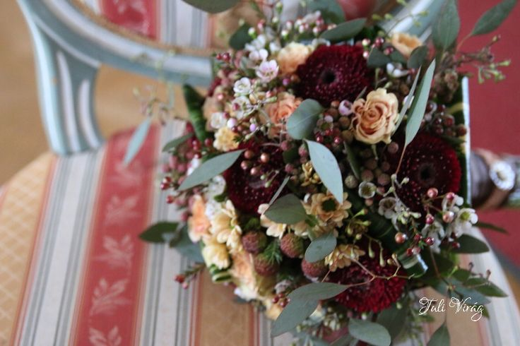 #wedding #burgundi #flowers #bouquett #roses @gerbera