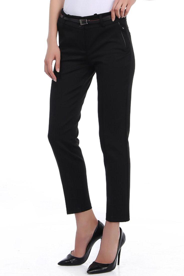 Siyah Kemerli Kumaş Bayan Pantolon
