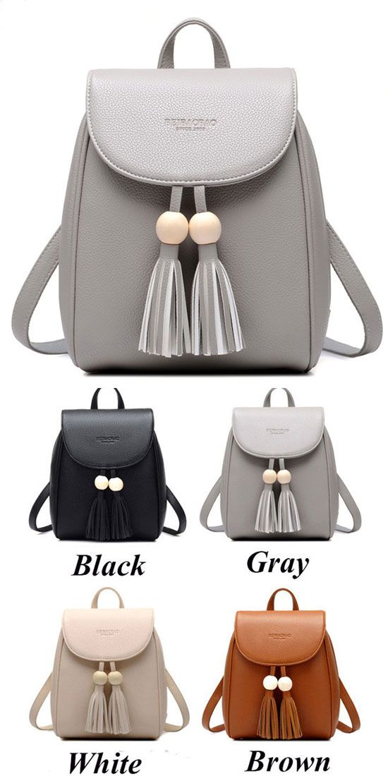 Leisure School Backpack Fashion PU Women Travel Tassels Bead Rucksack only $33.99