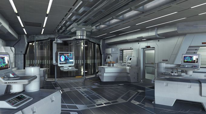 Future futuristic interior science fiction laboratory for Future interieur