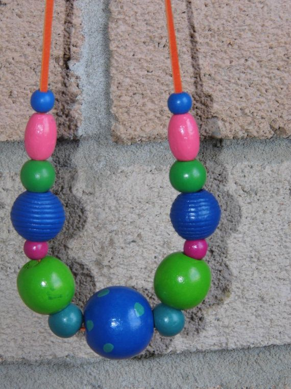 Unique wooden beads colorful artsy necklace hand by tanyasjuwerlly