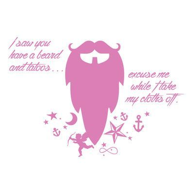 "The Decal Guru Beard Funny Quote Wall Decal Size: 22"" H x 32"" W x 0.01"" D, Color: Bubble Gum"