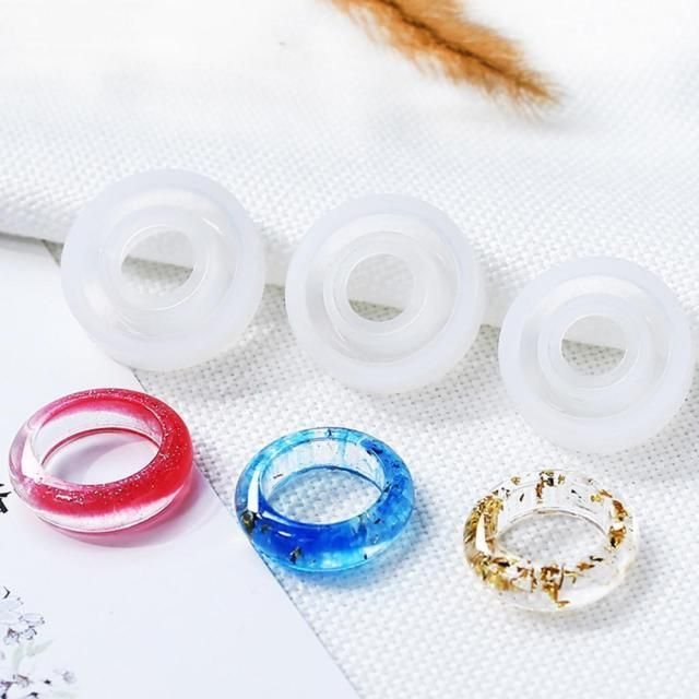 DIY Silicone Assorted Ring Size Epoxy Molds for Resin Jewelry Making Craft SET