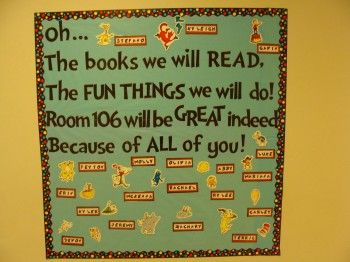 """""""Oh…The books we will READ, The FUN THINGS we will do! Room 106 will be GREAT indeed Because of ALL of you!"""" Perfect to have on top of rules poster, then have 4 rules. Then end with """"Learn a lot. Explore. If you have any questions, ask Ms. M for help."""" (if it all fits)"""