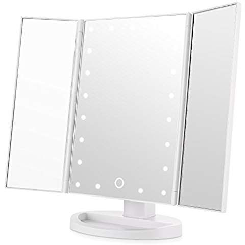 Easehold Led Vanity Mirror Make Up Tri Fold With 21pcs Lights 180