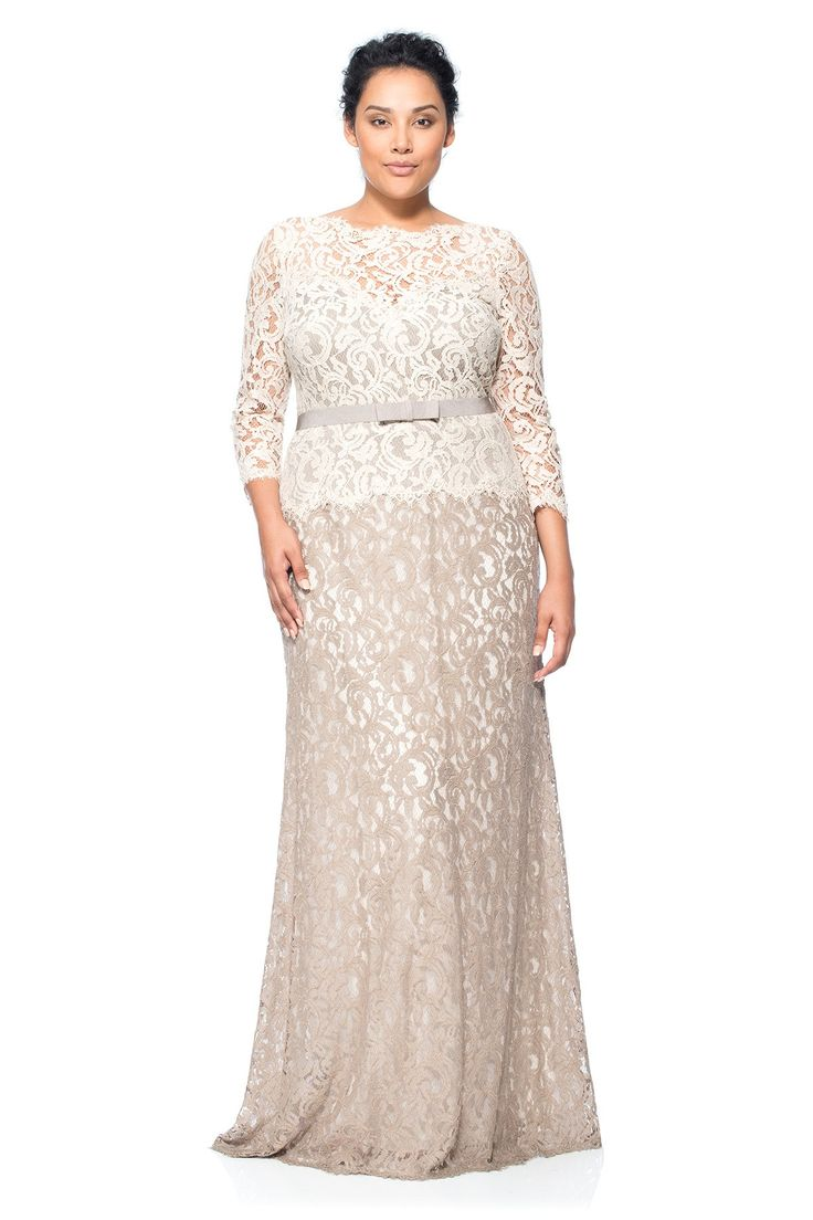 Lace Boatneck ¾ Sleeve Gown with Grosgrain Ribbon Belt - PLUS SIZE