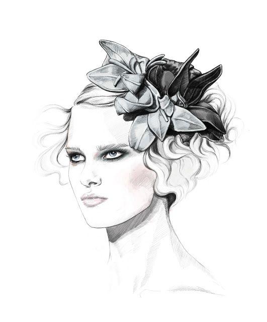 Fashion illustration - pretty portrait sketch, fashion drawing // Zhenya Zhuravlyova