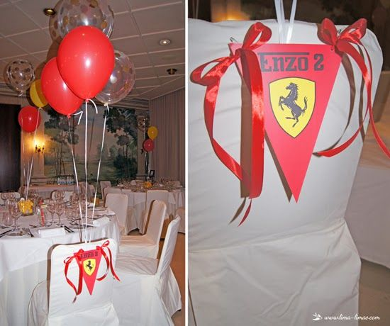 The birthday boy sitting place for this Ferrari themed party