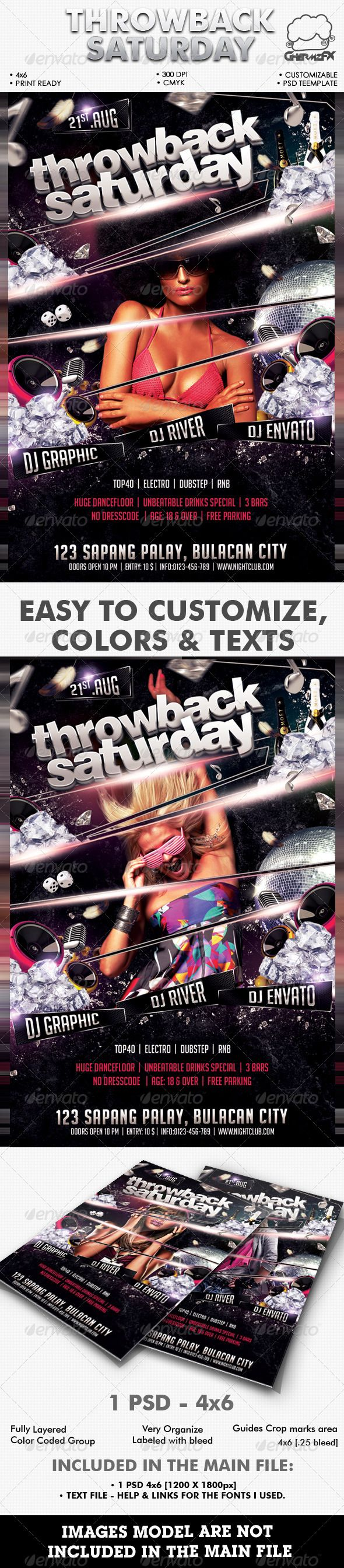 Throwback Saturday Flyer Template. Print-templates Flyers Events. For better visibility amazing, black, club, colorful, creative, dance, disco, disco ball, drinks, electro, event, flyer, girl, glow, lights, mashups, modern, music, night, party, poster, rnb, template, throwback, and top40.