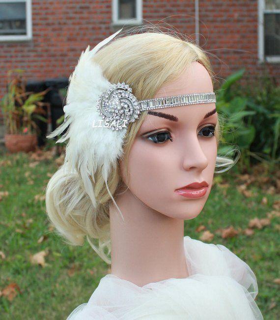 Rhinestone Bridal Headpiece Peacock Feather Headband LISALI Ivory  Black Flapper Headbands Wedding Hairpiece 1920s  Gatsby Headpiece