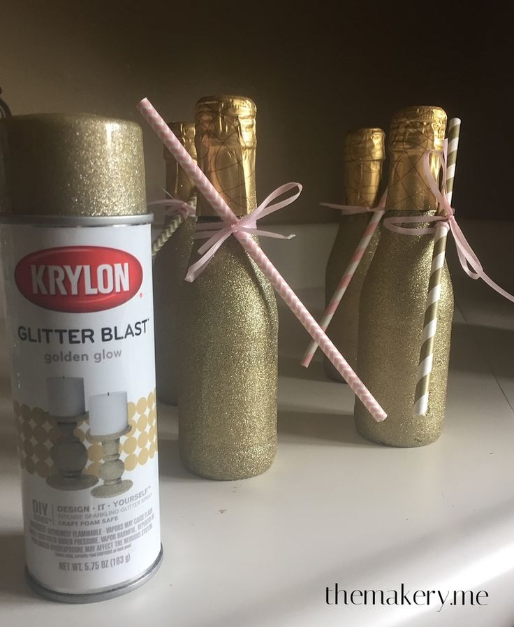 Easy Glittered Mini Champagne Bottles