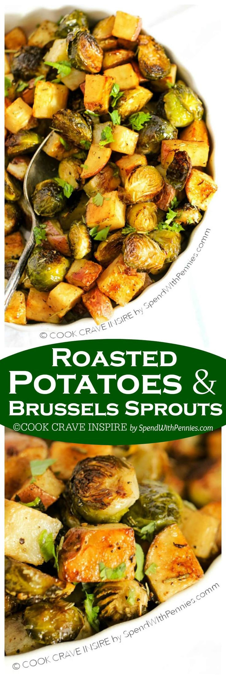 Roasted potatoes and brussels sprouts are easy to make & the perfect side dish idea. These contain rosemary & garlic powder but you can use you favorite seasonings!