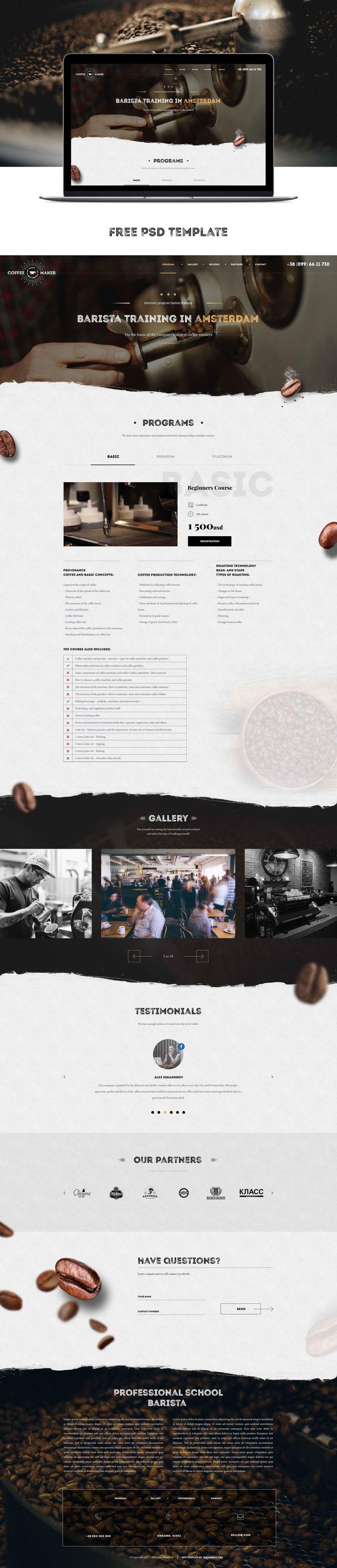"""다음 @Behance 프로젝트 확인: """"Psd template Barista course coffee"""" https://www.behance.net/gallery/26735807/Psd-template-Barista-course-coffee"""