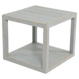 Featuring a cube design and crafted from wood this contemporary table pairs perfectly with clean lines and bare wood floors for maximum impact.  Product: TableConstruction Material: Tanguile woodColour: Sky blueFeatures: Lower shelfDimensions: 40 cm H x 45 cm W x 45 cm D