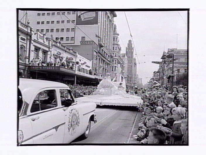 Float  in Swanston St. Moomba Parade Melbourne Victoria Australia 1955.  The parade is held on Labour Day yearly.
