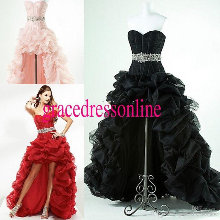 Prom/Evening Dresses Sweetheart Low Back Ball Gown Hi Lo Bubble Long Black Evening Dresses Uk Long Evening Dress Uk From Gracedressonline, $106.8| Dhgate.Com