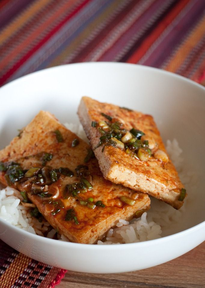 Korean braised tofu- easy and really good. Use firmest tofu. I added ginger and a little bit of rice vinegar & siracha instead of the powder.