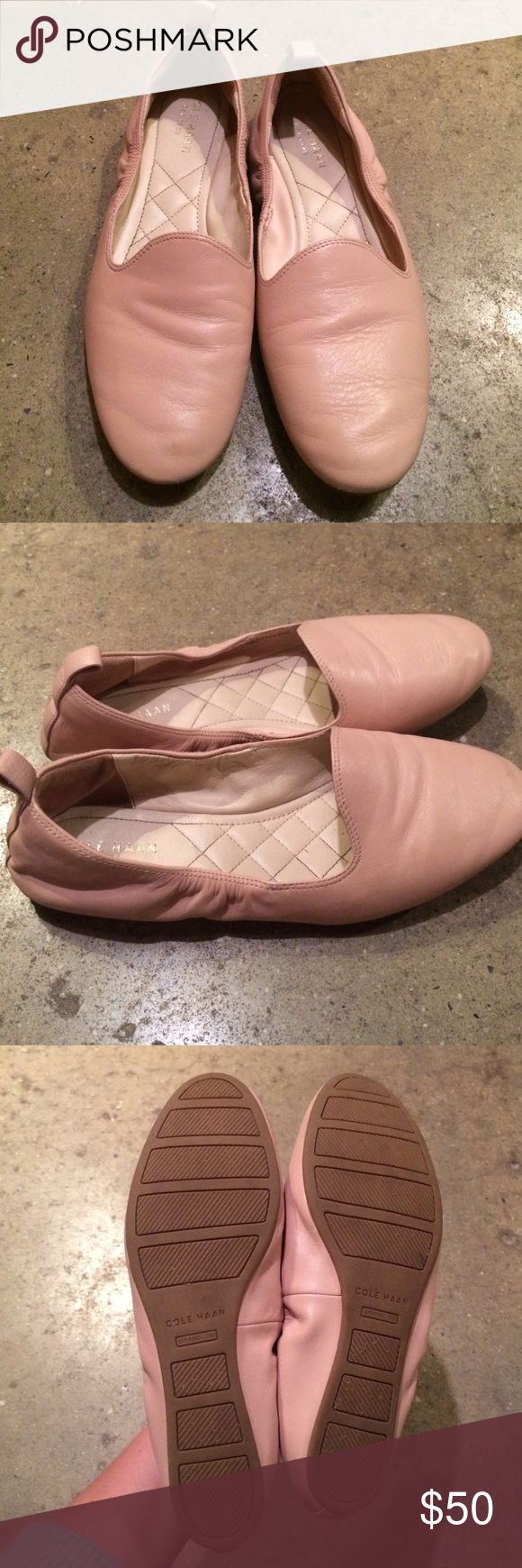 Cole Haan 100% genuine leather loafers Gently used, no scuffs. Ballet pink leather loafers. Super comfy and flattering but were a bit too small for me. Cole Haan Shoes Flats & Loafers
